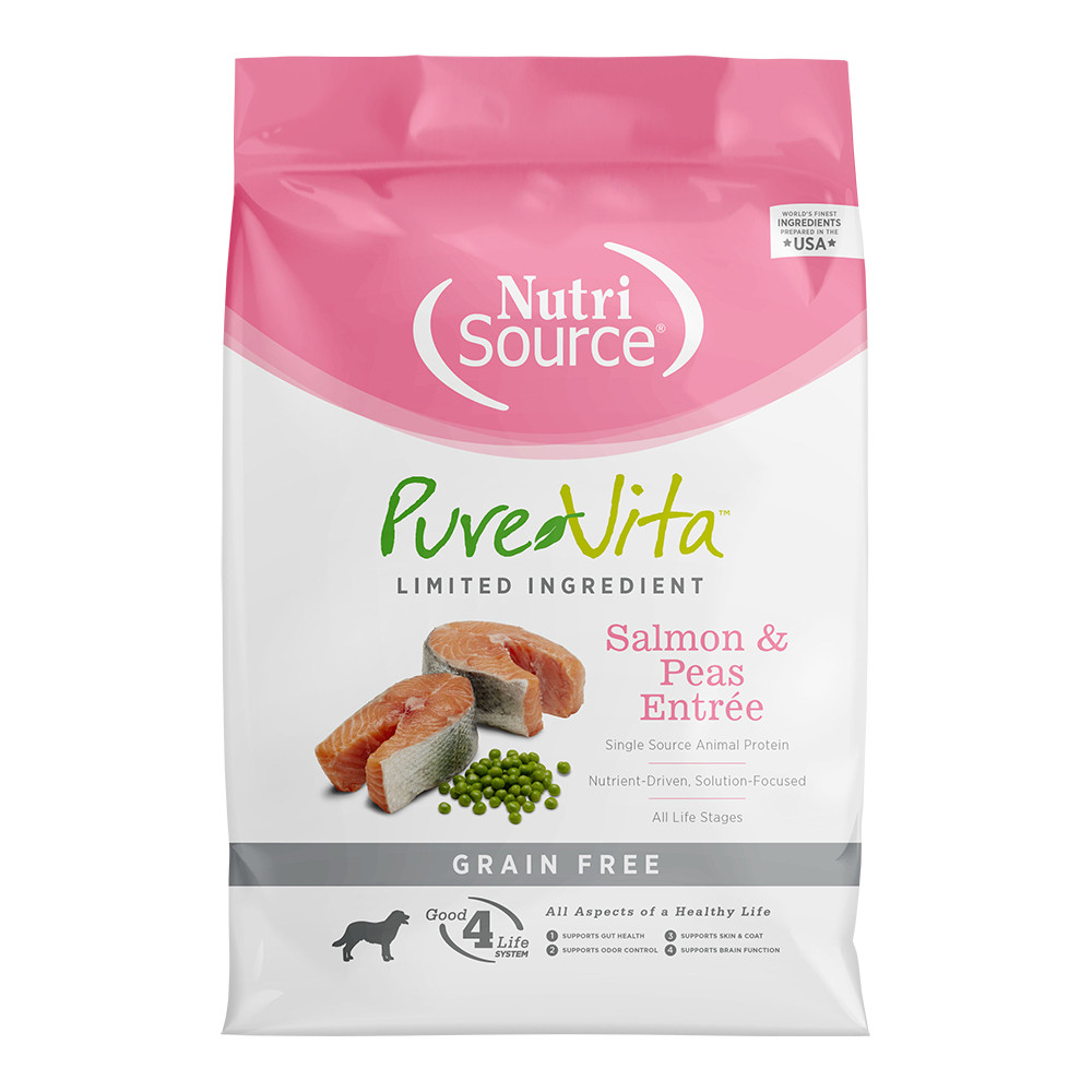 click here to shop PureVita Salmon & Peas Grain Free Entree Dry Dog Food