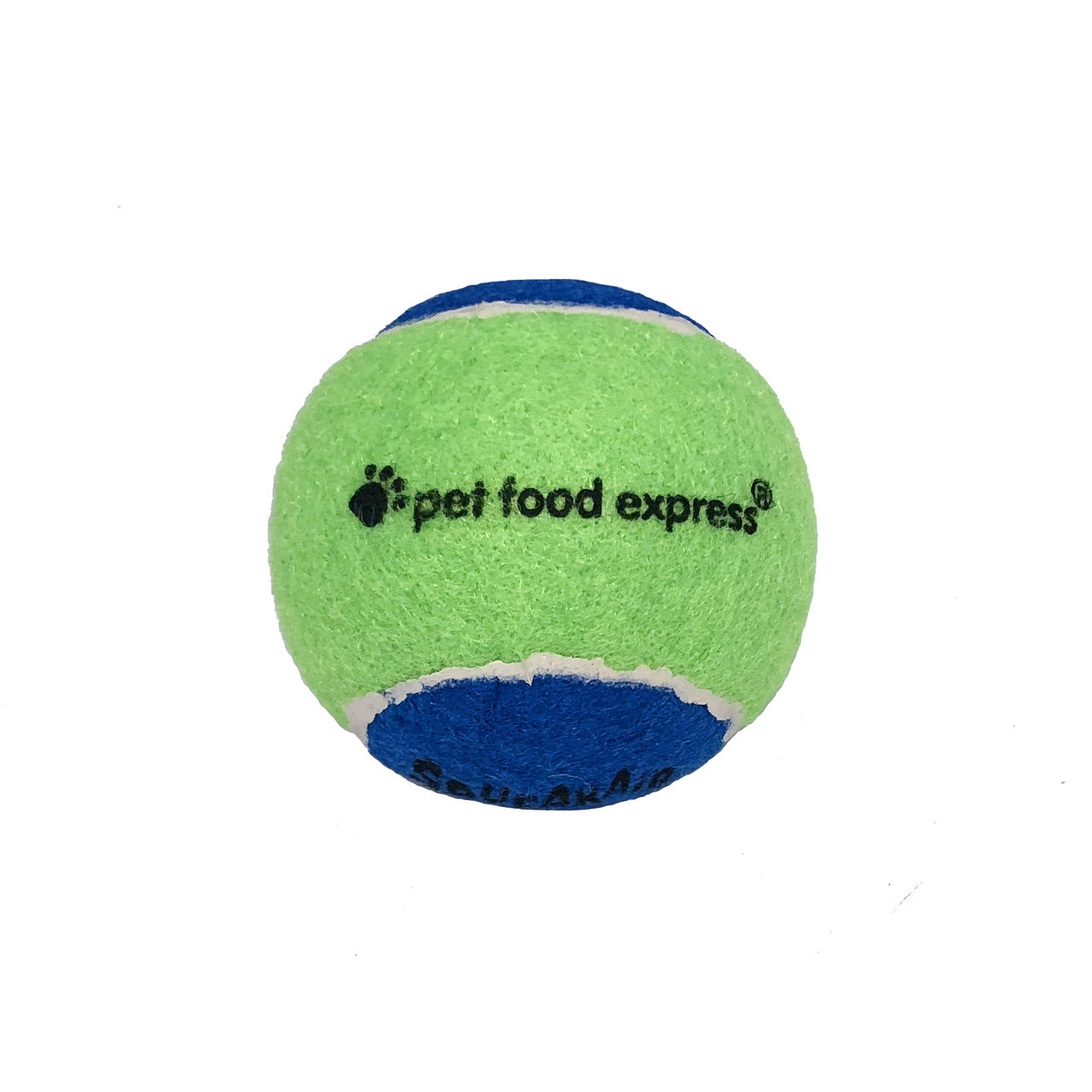 click here to shop Pet Food Express SqueakAir Tennis Ball