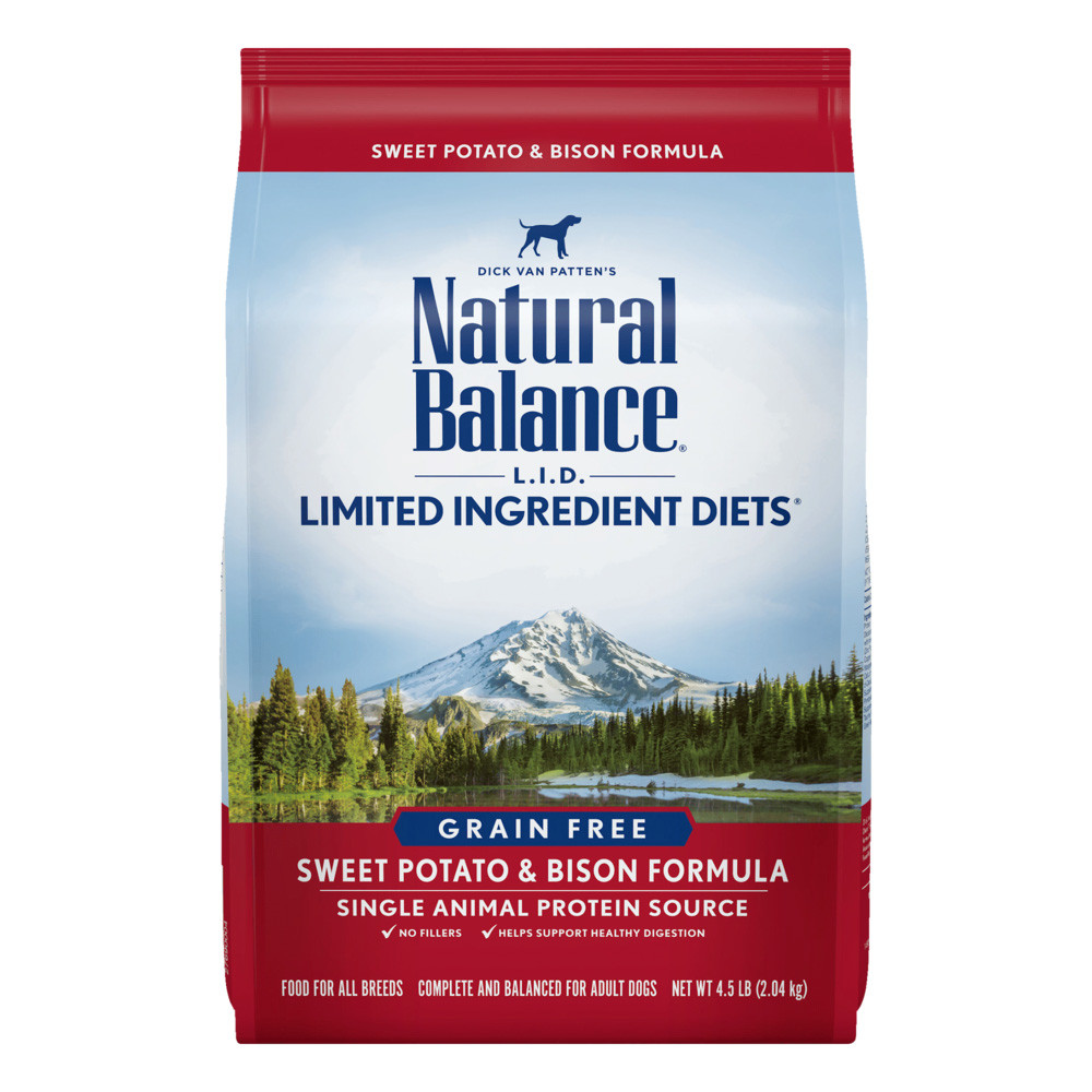 click here to shop Natural Balance Limited Ingredient Diets Sweet Potato & Bison Formula Dry Dog Food