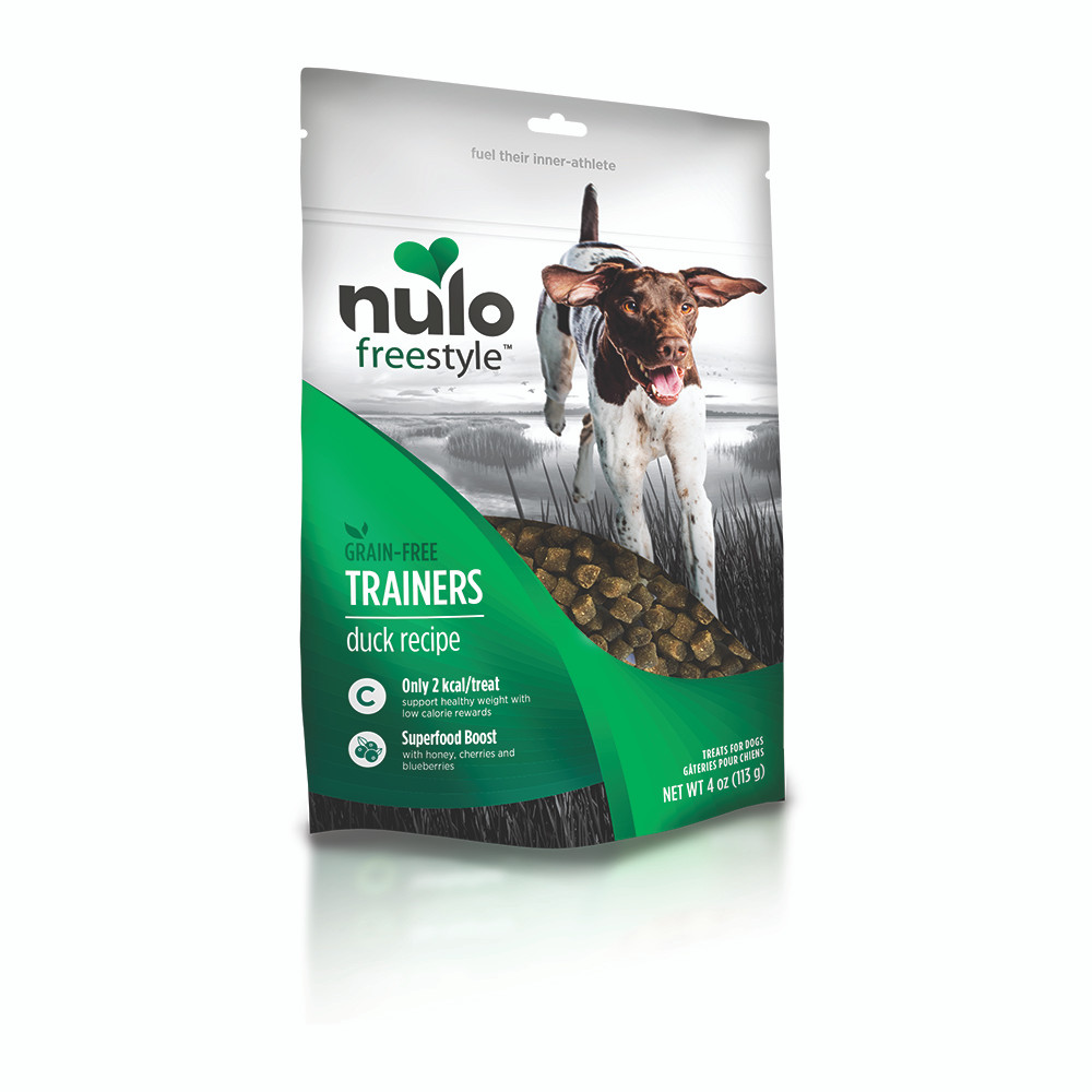click here to shop Nulo Freestyle Grain-Free Trainers Duck Recipe Dog Training Treats