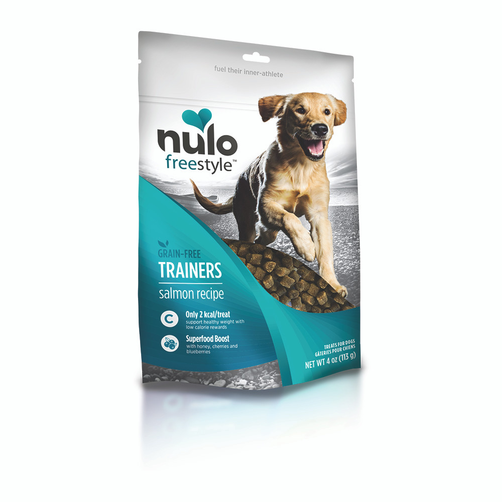 click here to shop Nulo Freestyle Grain-Free Trainers Salmon Recipe Dog Training Treats.