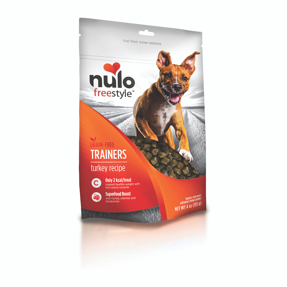 click here to shop Nulo Freestyle Grain-Free Trainers Turkey Recipe Dog Training Treats