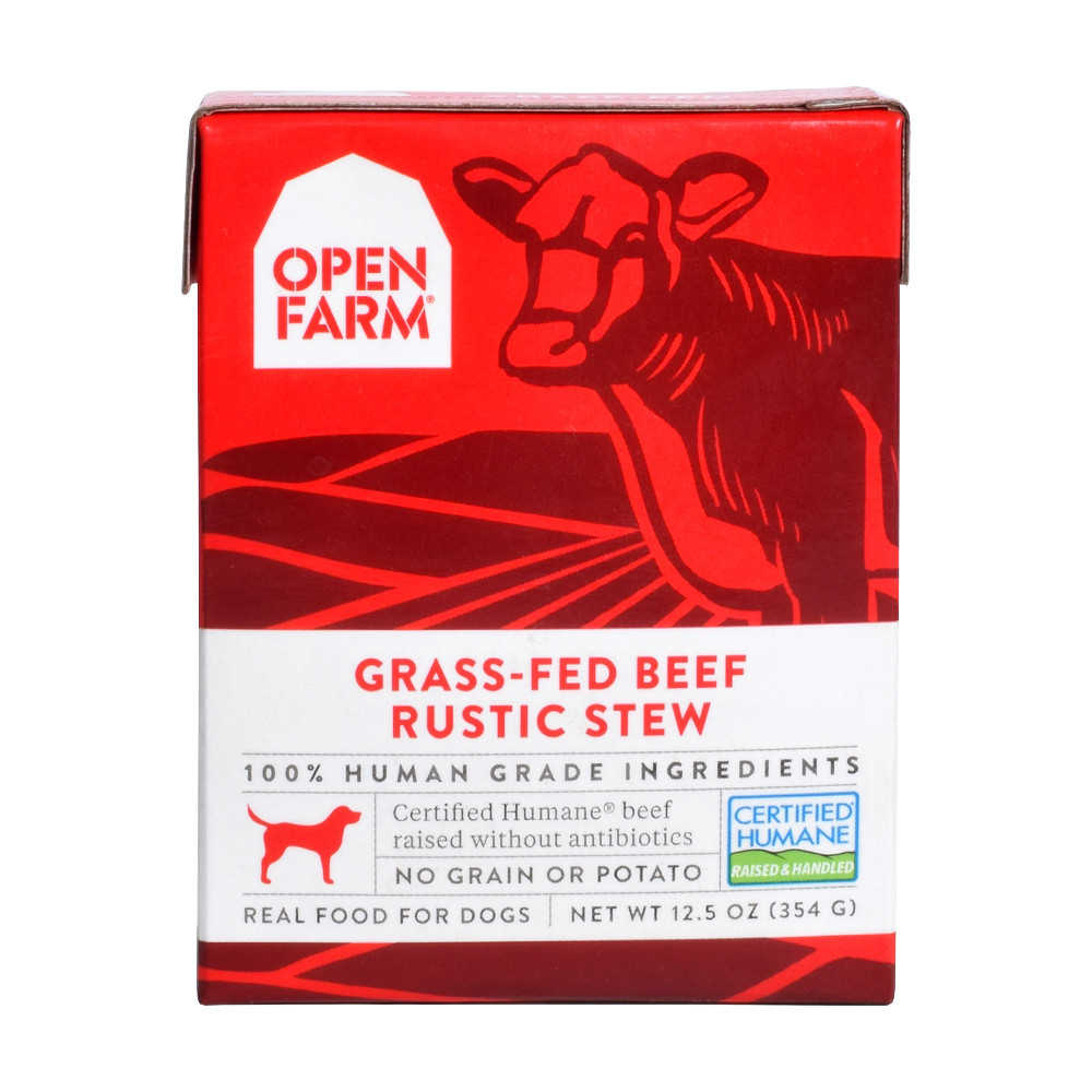 click here to shop Open Farm Grass-Fed Beef Rustic Stew Wet Dog Food Tetra Pack
