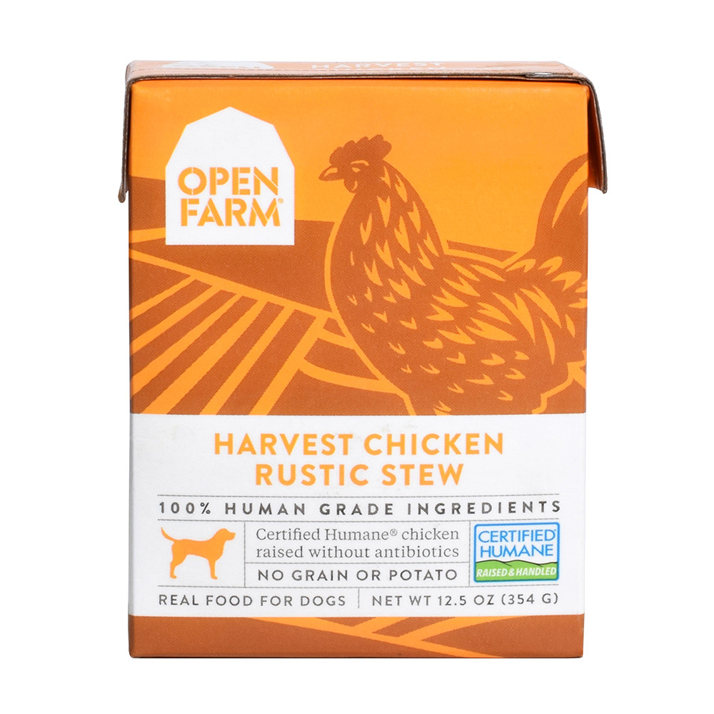 click here to shop Open Farm Harvest Chicken Rustic Stew Wet Dog Food Tetra Pack