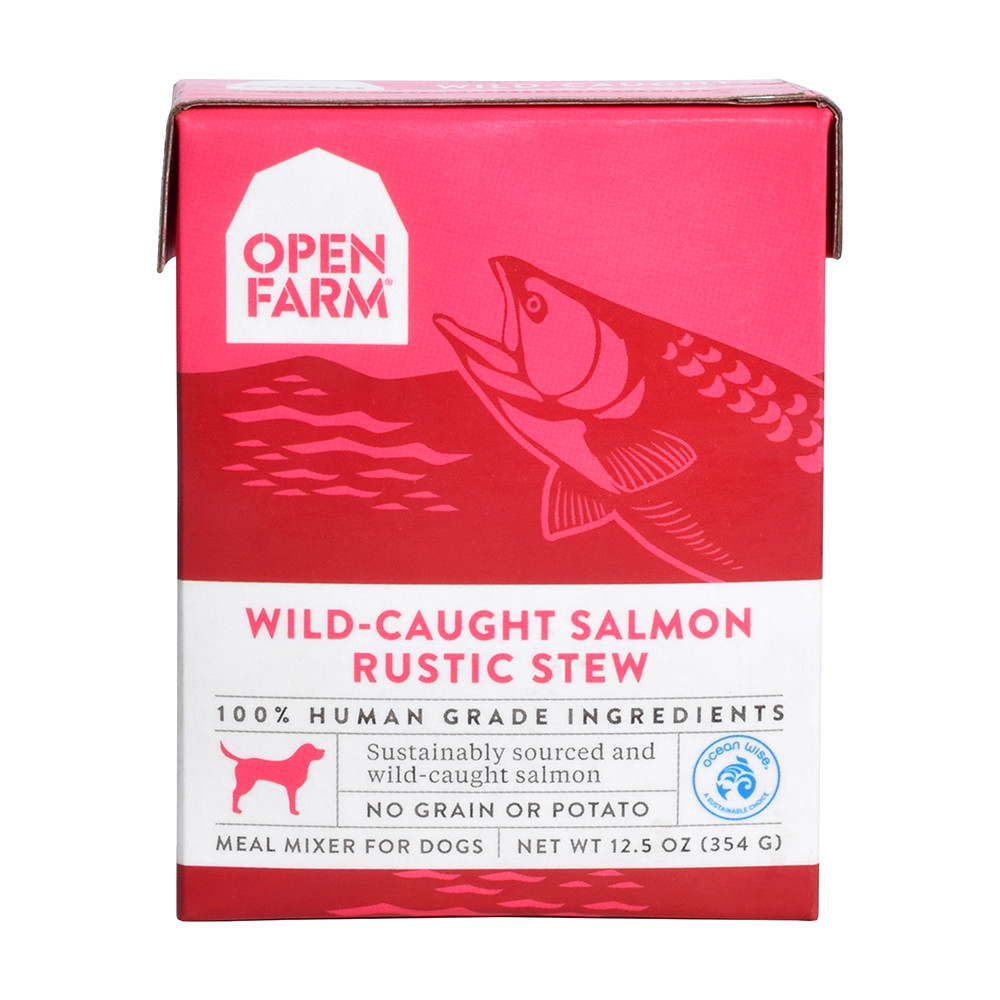 click here to shop Open Farm Wild-Caught Salmon Rustic Stew Meal Mixer for Dogs