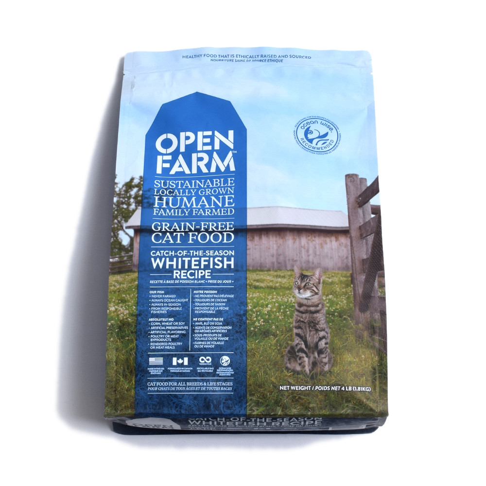 click here to shop Open Farm Catch-Of-The-Season Whitefish Recipe Dry Cat Food