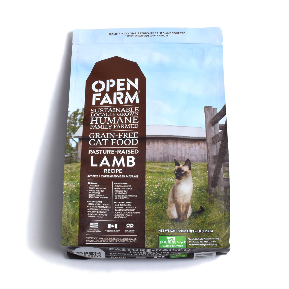 click here to shop Open Farm Pasture Raised Lamb Recipe Dry Cat Food