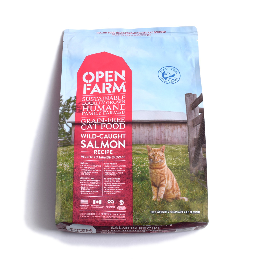 click here to shop Open Farm Wild Caught Salmon Recipe Dry Cat Food.