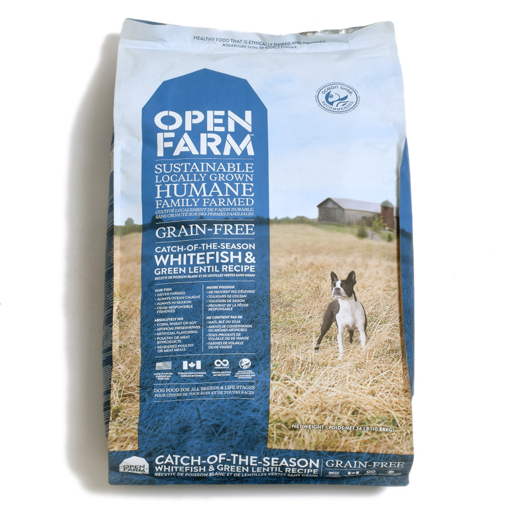 click here to shop Open Farm Catch-Of-The-Season Whitefish & Green Lentil Recipe Dry Dog Food.