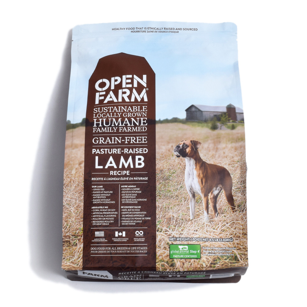 click here to shop Open Farm Pasture Raised Lamb Recipe Dry Dog Food.