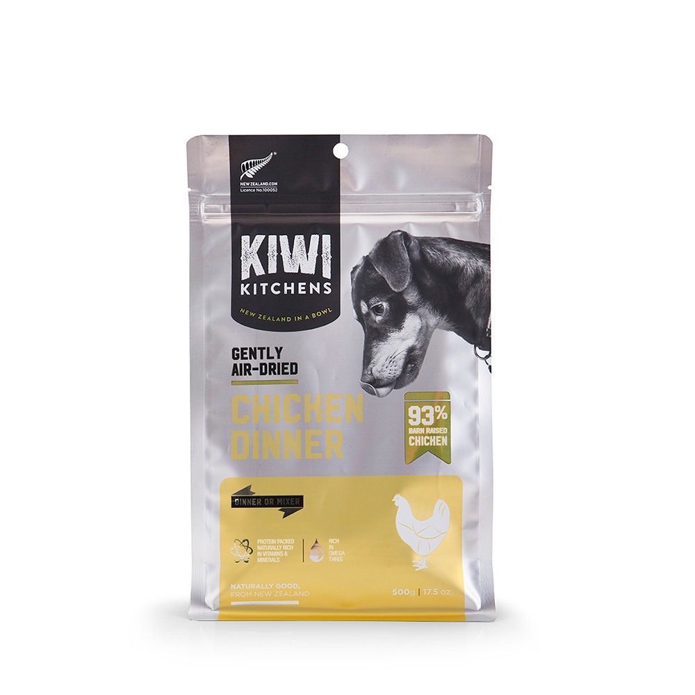 click here to shop Kiwi Kitchens Gently Air-Dried Chicken Dinner Dog Food.