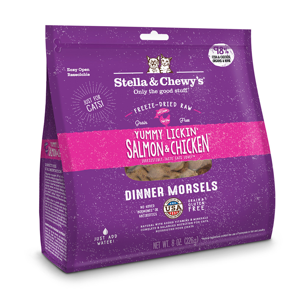 click here to shop Stella & Chewy's Yummy Lickin' Salmon & Chicken Dinner Freeze-Dried Cat Food