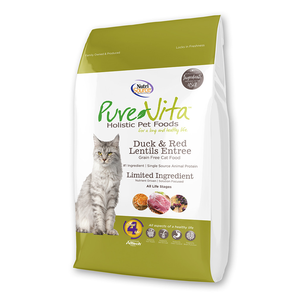 click here to shop PureVita Grain Free Duck & Red Lentils Entree Dry Cat Food