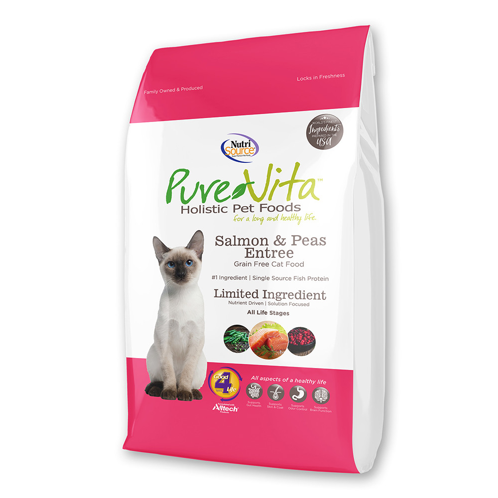 click here to shop PureVita Grain Free Salmon & Peas Entree Dry Cat Food