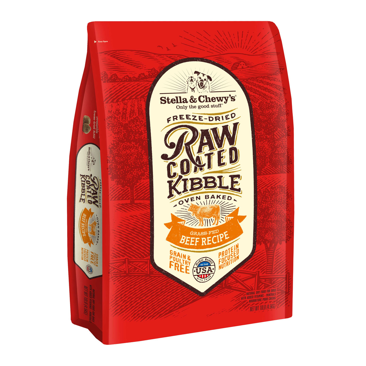 click here to shop Stella & Chewy's Grass-Fed Beef Recipe Raw Coated Kibble Dry Dog Food