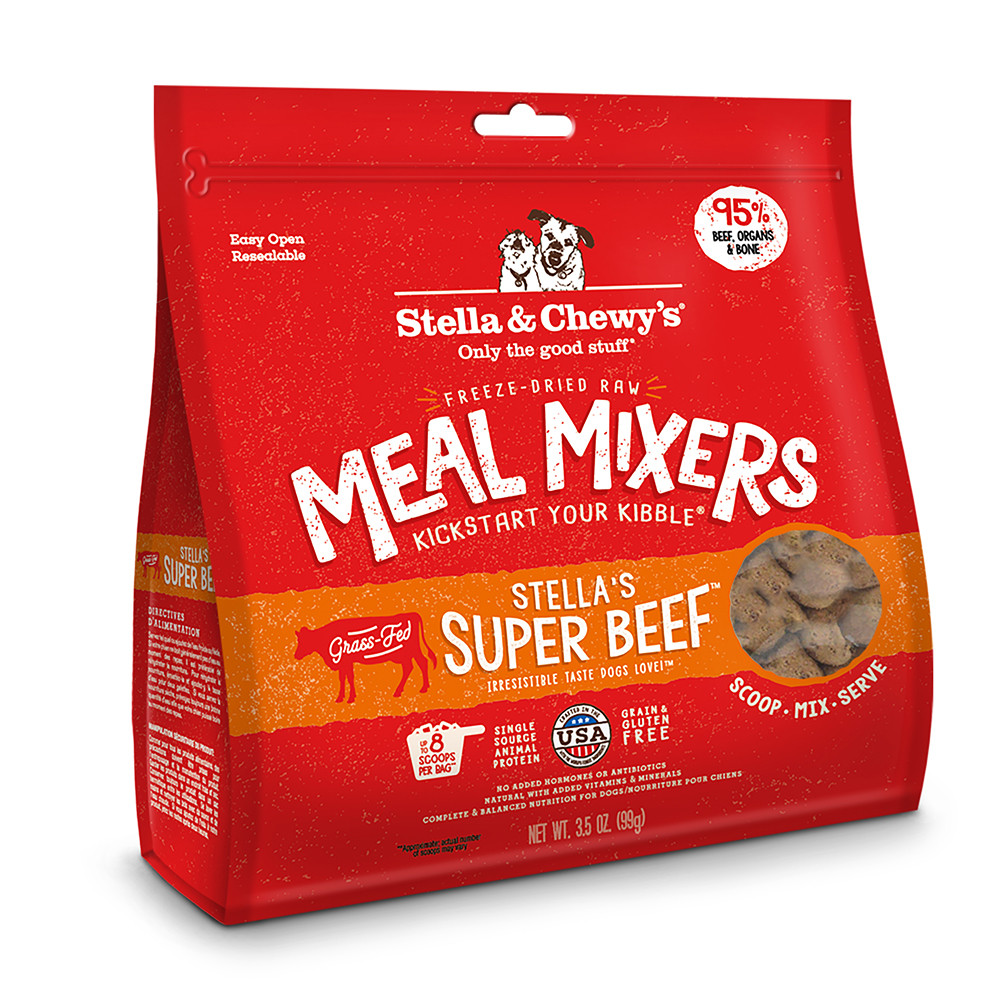 click here to shop Stella & Chewy's Super Beef Freeze-Dried Raw Dog Meal Mixers
