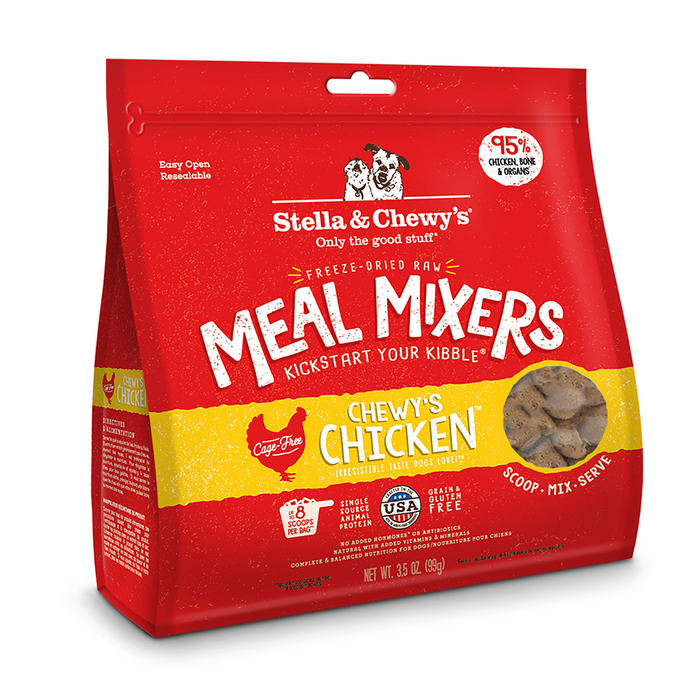 click here to shop Stella & Chewy's Chicken Freeze-Dried Raw Dog Meal Mixers