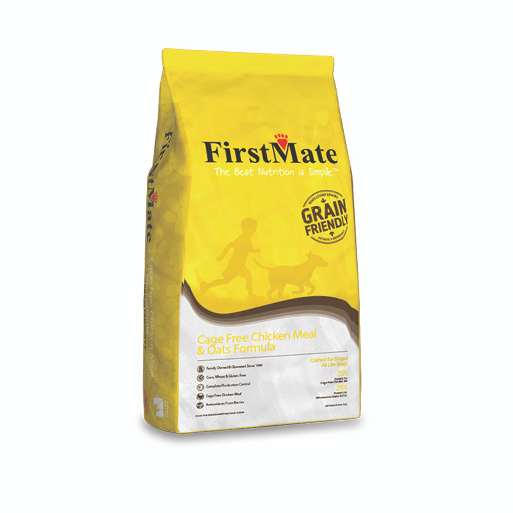 click here to shop FirstMate Cage Free Chicken Meal & Oats Formula Dry Dog Food.