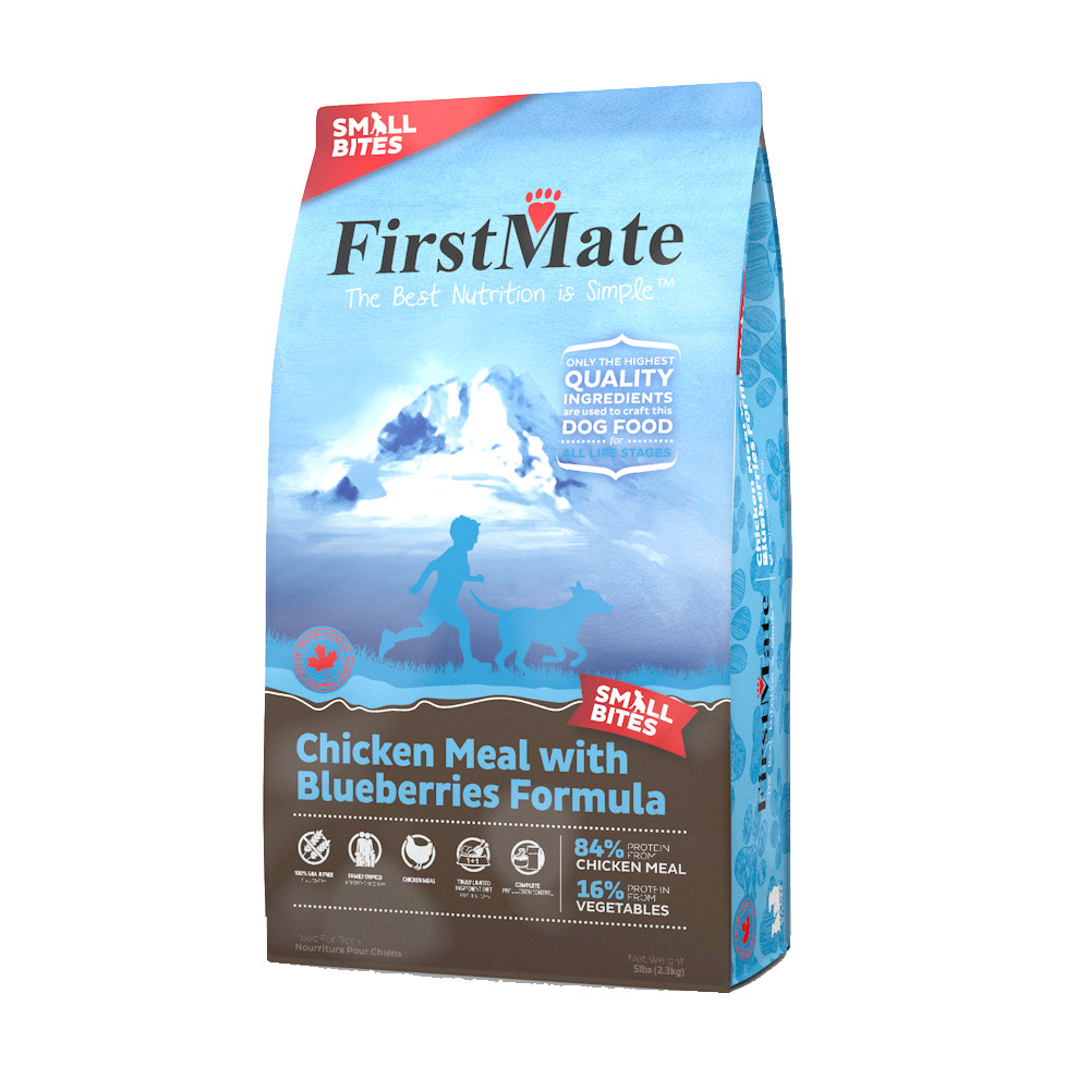 click here to shop FirstMate Chicken Meal with Blueberries Formula Small Bites Dry Dog Food