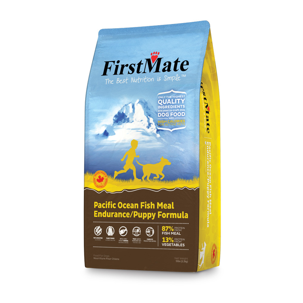 click here to shop FirstMate Pacific Ocean Fish Meal Endurance/Puppy Formula Dry Dog Food.
