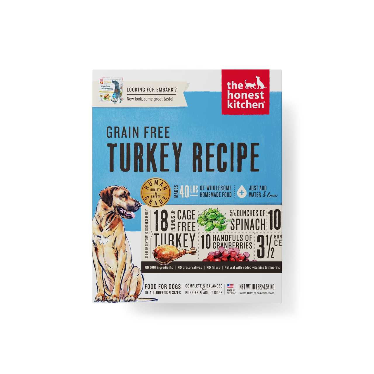 click here to shop The Honest Kitchen Grain-Free Turkey Recipe (EMBARK) Dehydrated Dog Food