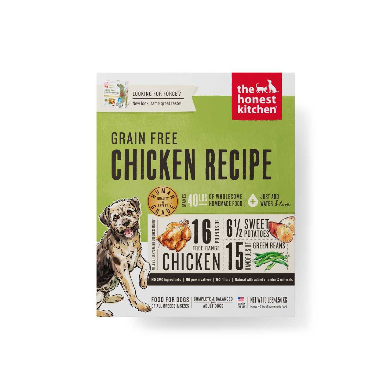 click here to shop The Honest Kitchen Grain-Free Chicken Recipe (FORCE) Dehydrated Dog Food