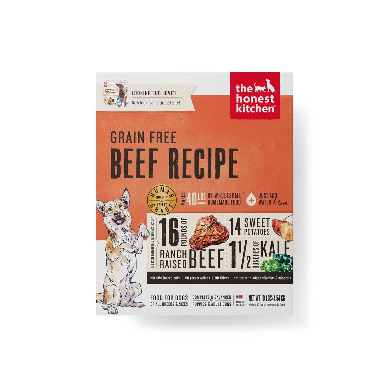 click here to shop The Honest Kitchen Grain-Free Beef Recipe (LOVE) Dehydrated Dog Food