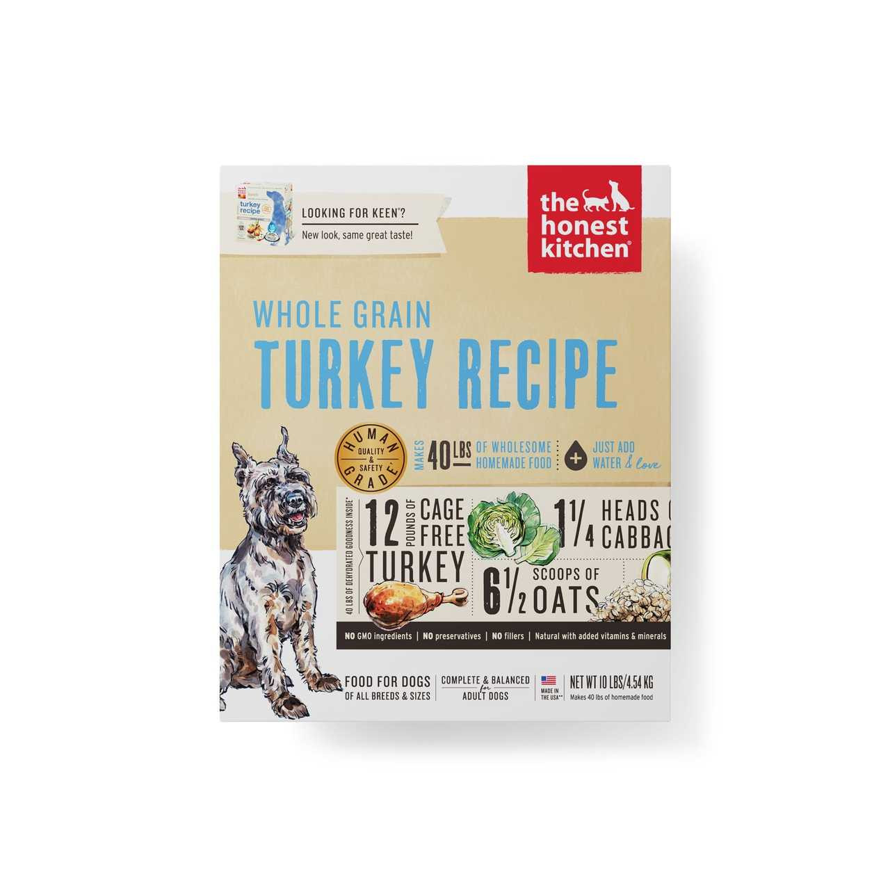 click here to shop The Honest Kitchen Whole Grain Turkey Recipe (KEEN) Dehydrated Dog Food
