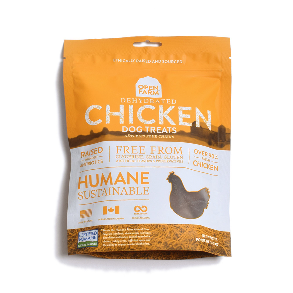 click here to shop Open Farm Dehydrated Chicken Dog Treats