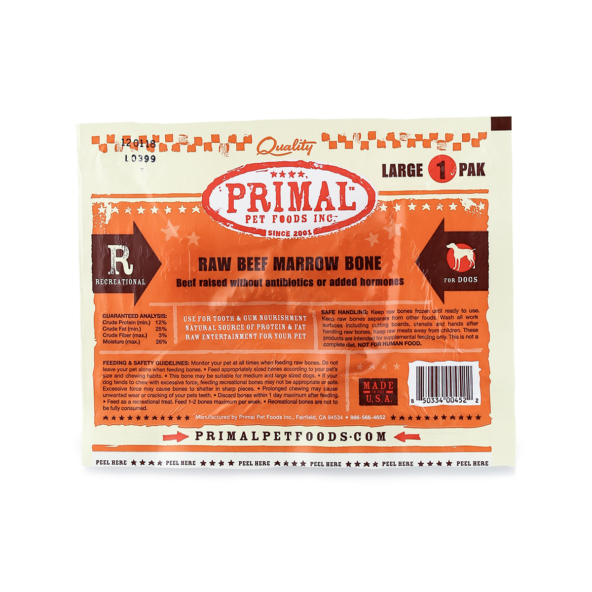 click here to shop Primal Raw Frozen Recreational Large Beef Marrow Bones for Dogs & Cats