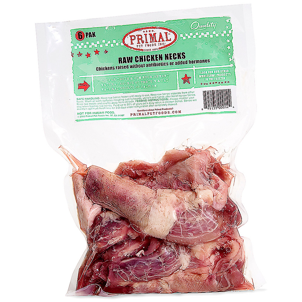 click here to shop Primal Raw Frozen Meaty Bones Chicken Necks for Dogs & Cats