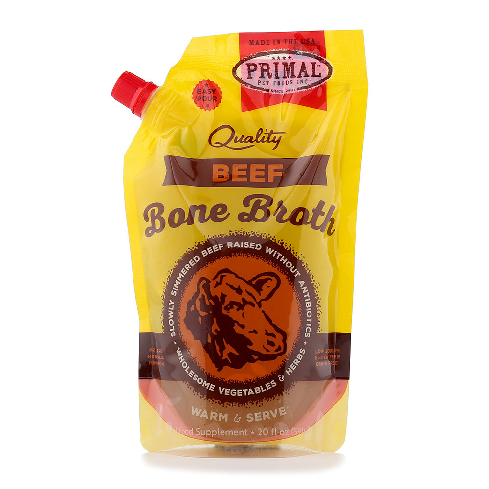 click here to shop Primal Frozen Beef Bone Broth for Cats & Dogs