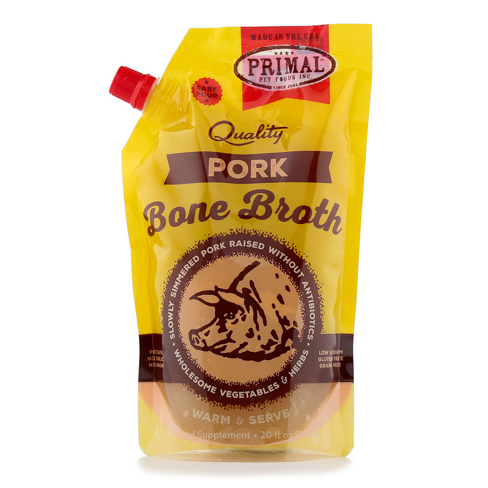 click here to shop Primal Frozen Pork Bone Broth for Cats & Dogs.