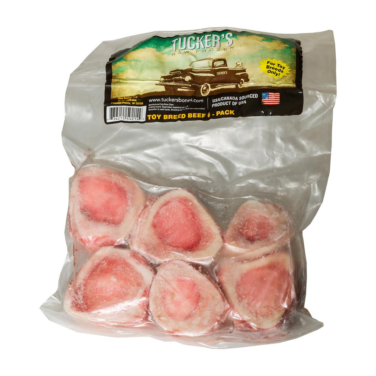 click here to shop Tucker's Raw Frozen Beef Toy Breed Dog Bones.
