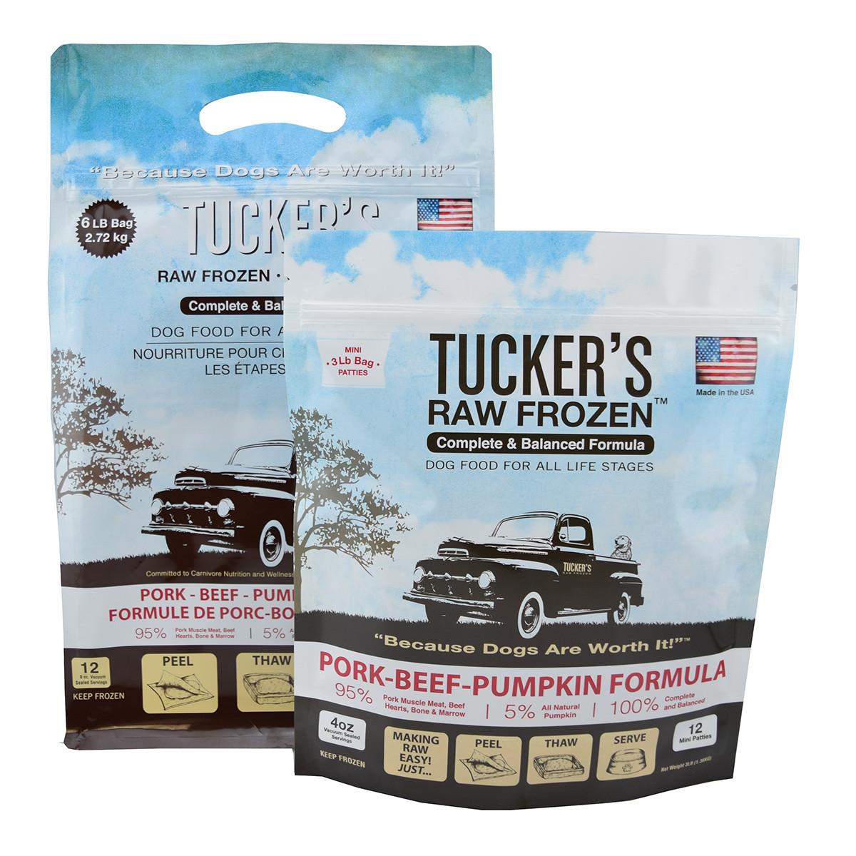 click here to shop Tucker's Raw Frozen Pork-Beef-Pumpkin Dog Food
