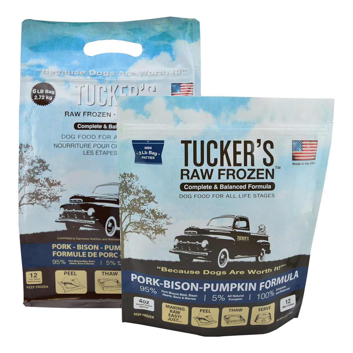 click here to shop Tucker's Raw Frozen Pork-Bison-Pumpkin Dog Food.
