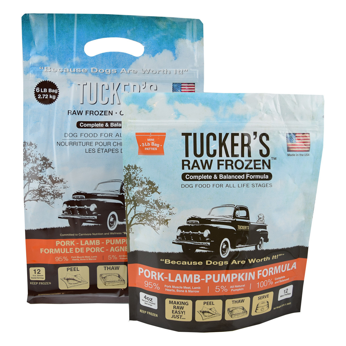click here to shop Tucker's Raw Frozen Pork-Lamb-Pumpkin Dog Food
