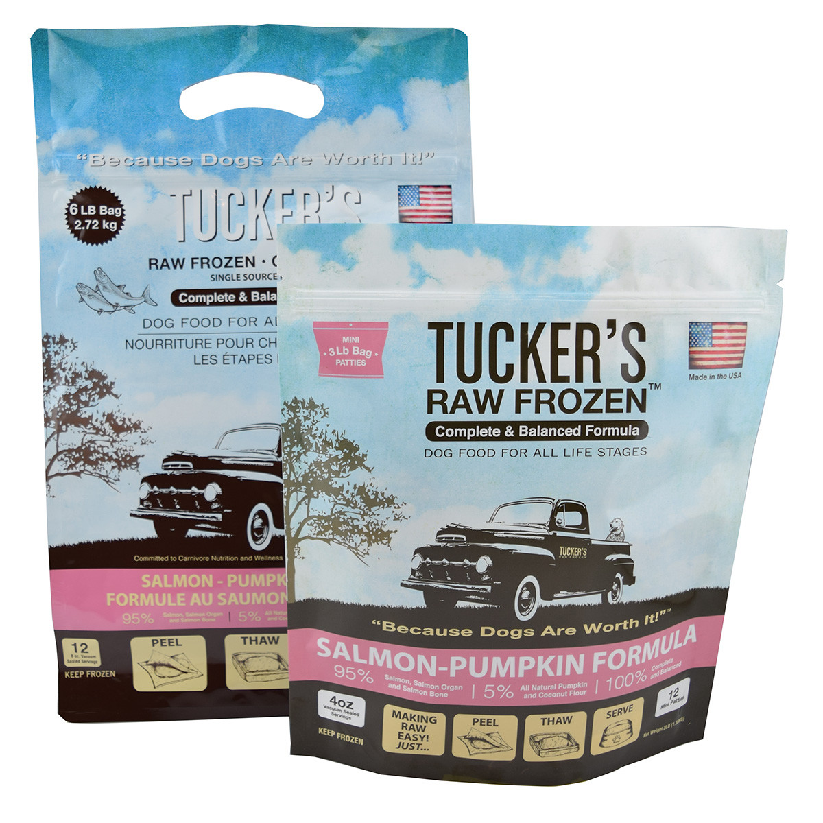 click here to shop Tucker's Raw Frozen Salmon-Pumpkin Formula Dog Food
