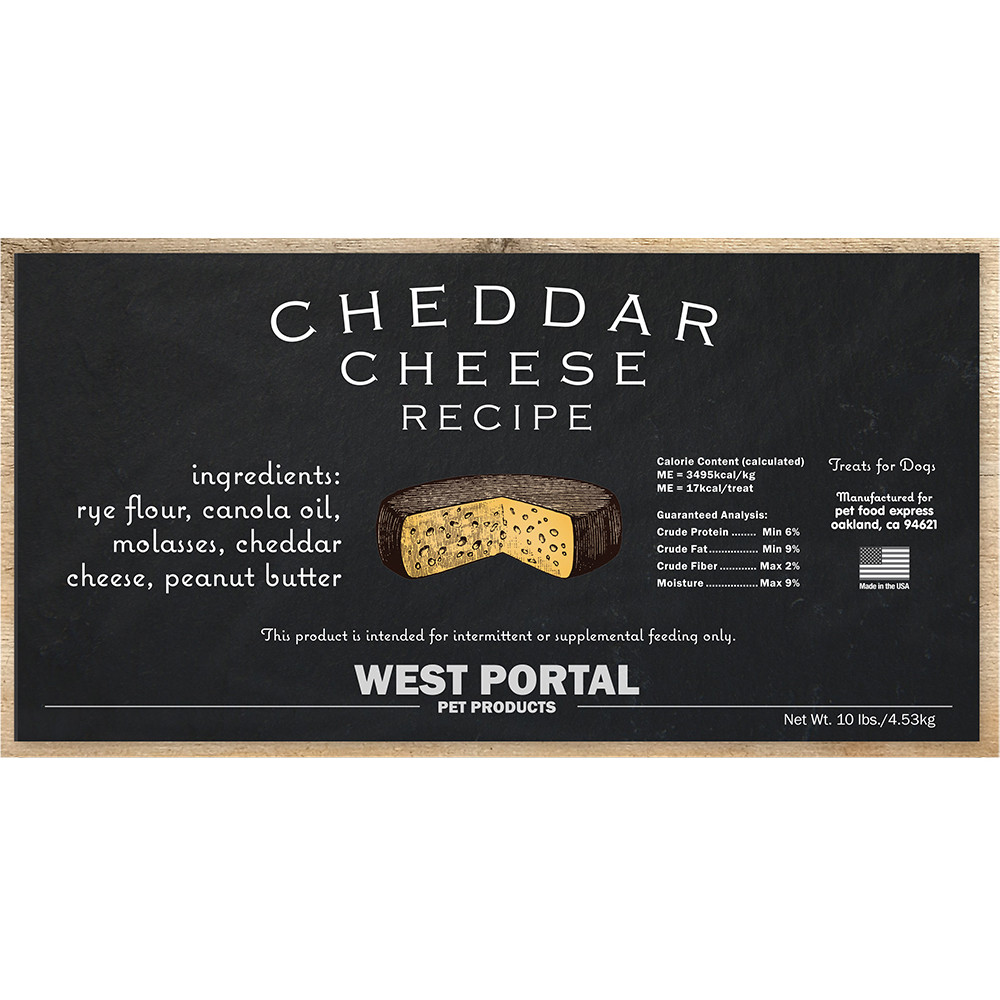 click here to shop West Portal Natural Cheddar Cheese Dog Biscuits