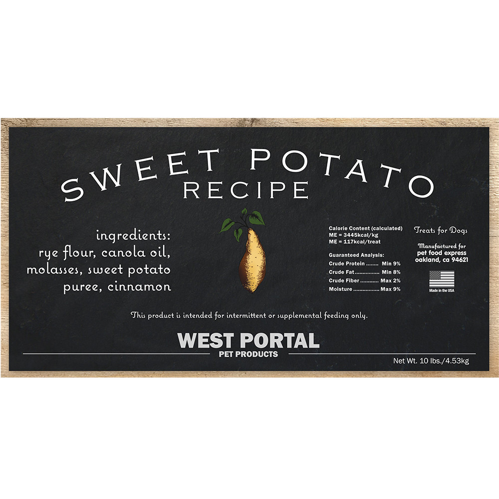 click here to shop West Portal Natural Sweet Potato Dog Biscuits