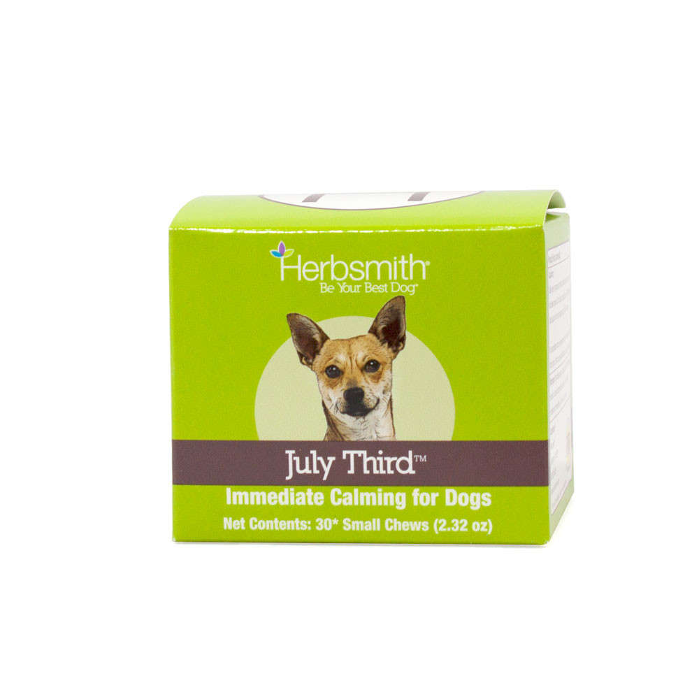 click here to shop Herbsmith July Third Calming Supplement for Small Dogs