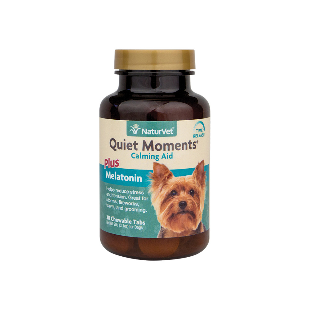 click here to shop Quiet Moments Calming Aid Plus Melatonin Dog Tablets