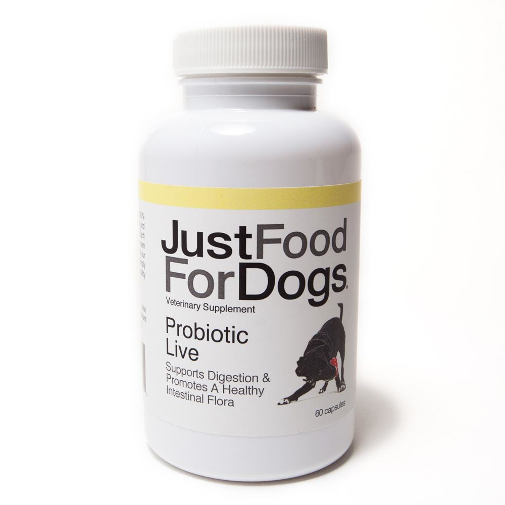 click here to shop JustFoodForDogs Probiotic Live Supplement for Dogs