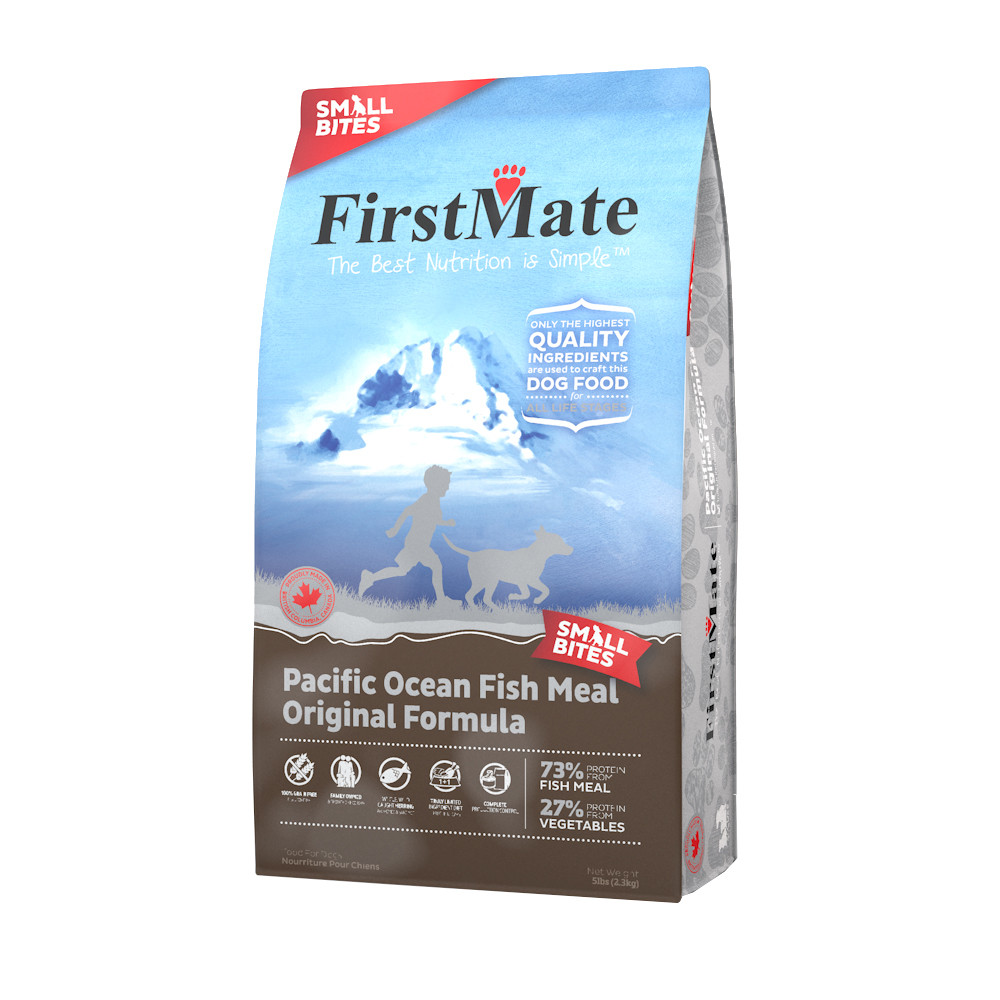click here to shop First Mate Ocean Fish Meal Original Formula Small Bites Dry Dog Food