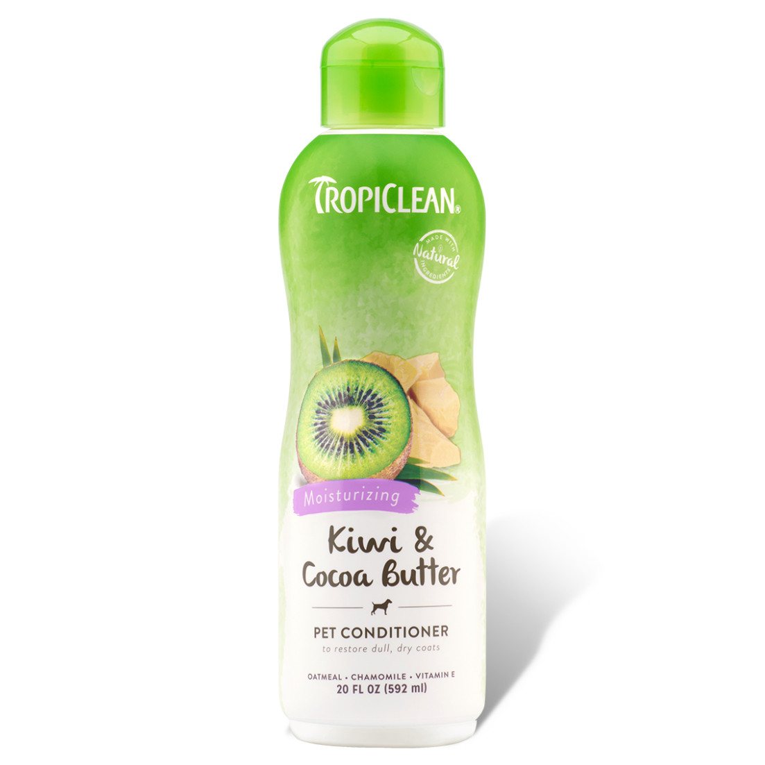 click here to shop TropiClean Kiwi & Cocoa Butter Moisturizing Pet Conditioner
