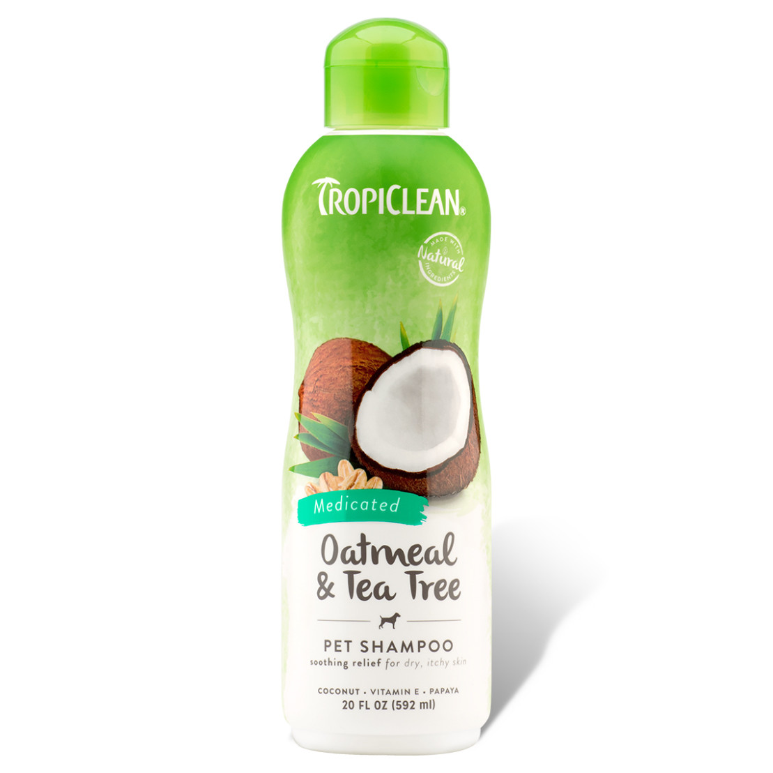 click here to shop TropiClean Oatmeal & Tea Tree Medicated Dog Shampoo