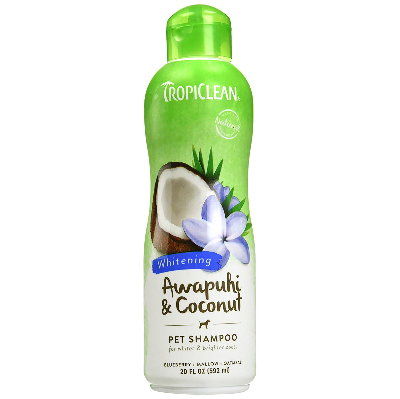 click here to shop TropiClean Awapuhi & Coconut Whitening Pet Shampoo