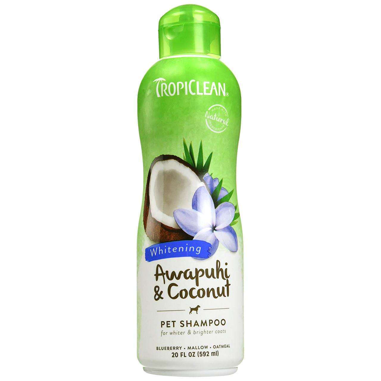 click here to shop TropiClean Awapuhi & Coconut Whitening Pet Shampoo