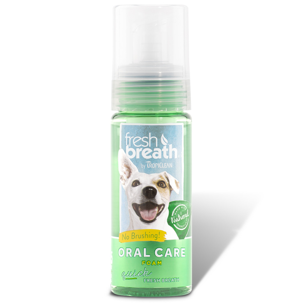 click here to shop Fresh Breath By TropiClean Mint Foam for Pets