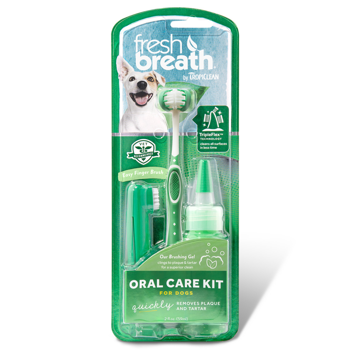 click here to shop Fresh Breath By TropiClean Oral Care Kit for Dogs